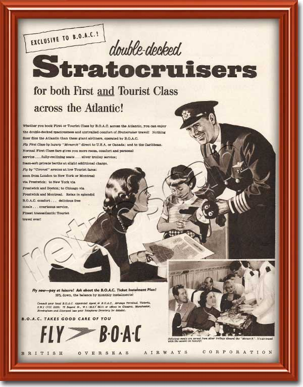 vintage BOAC Stratocruisers advert