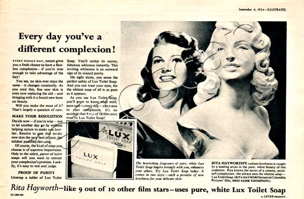 1954 Lux Toilet Soap (Rita Hayworth) - unframed vintage