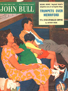 1955 April John Bull Vintage Magazine family asleep on train