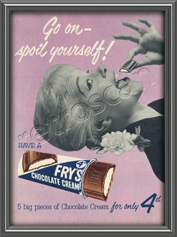1954 Fry's Chocolate Cream vintage ad