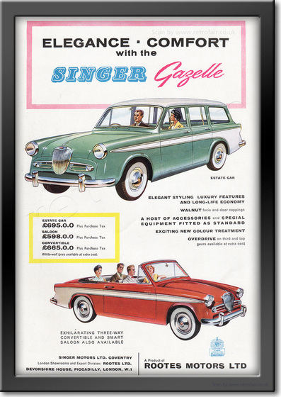 1958 Singer Gazelle - framed preview retro