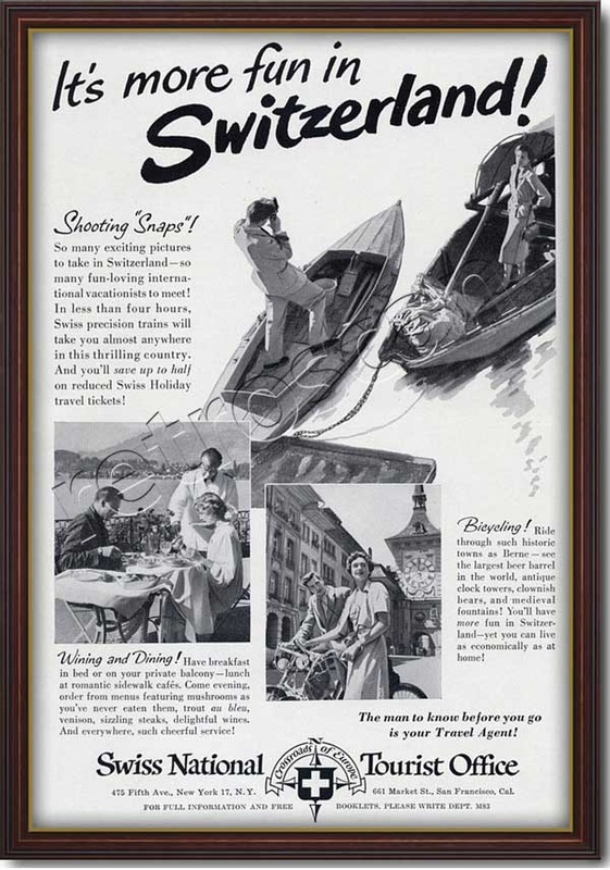 1951 Vintatage Switerland Tourism Advert