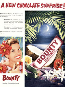 1954 Bounty Bar Moonlight  Retro Ad