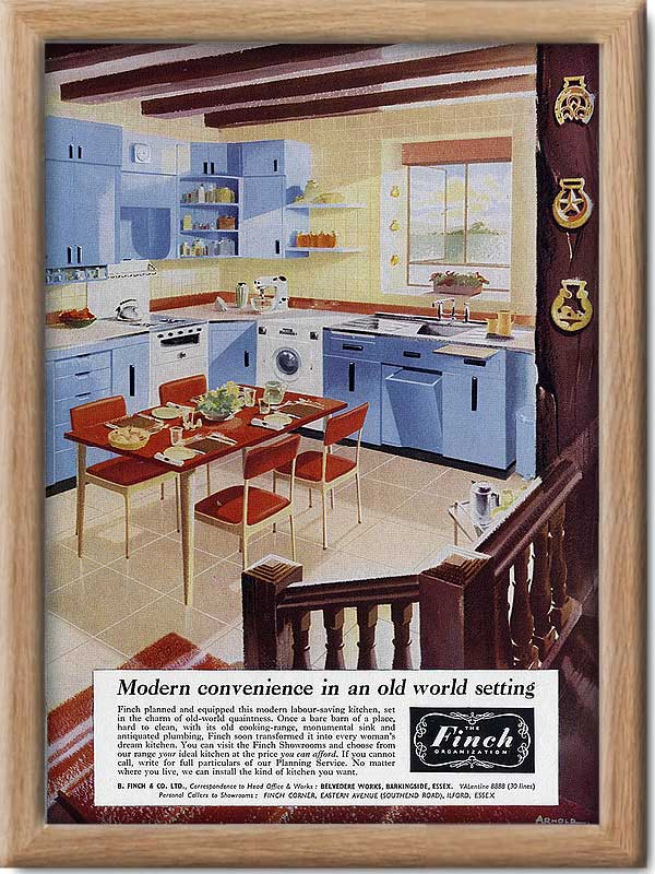 1953 vintage Finch kitchens ad