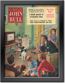 1955 May John Bull Vintage Magazine family sitting watching television  - framed example