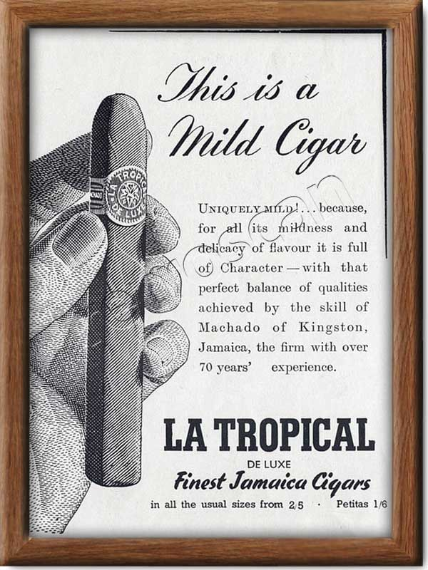 1950 vintage La Tropical Jamaica Cigars advert
