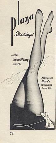 1953 Plaza Stockings retro advert