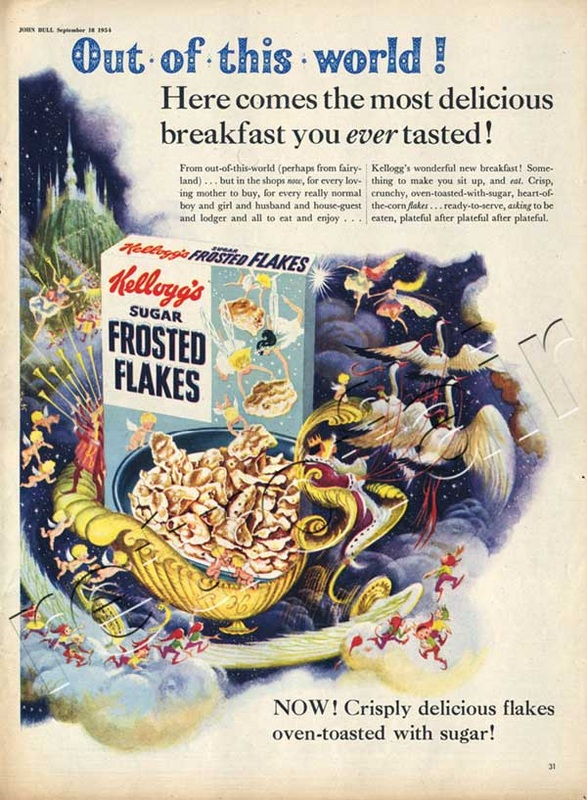 1952 Kellogg's Frosted Flakes with enchanted castle - unframed detail
