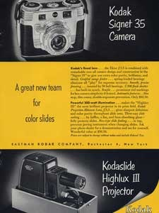 1953 Kodak Signet and Highlux - vintage ad