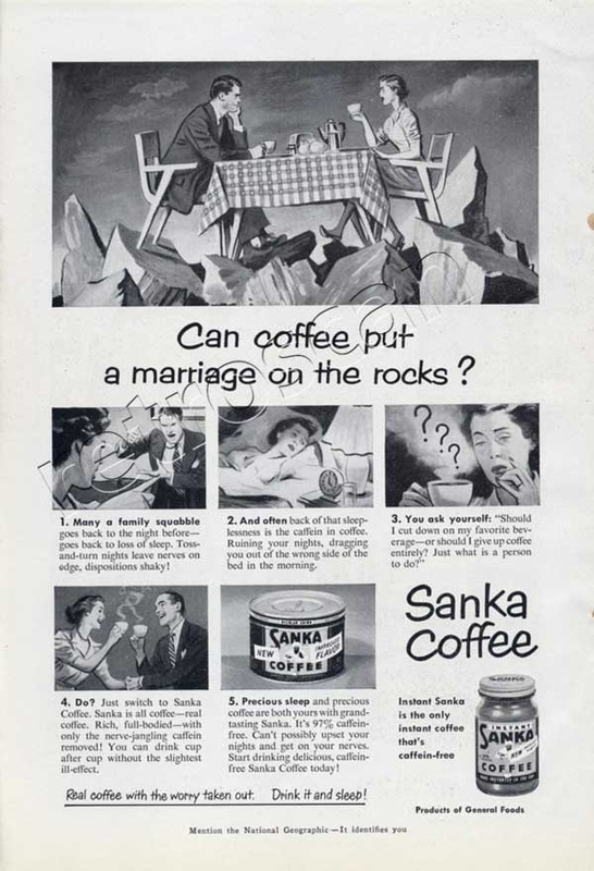 1951 Sanka Coffee Caffeine Free Coffee- unframed