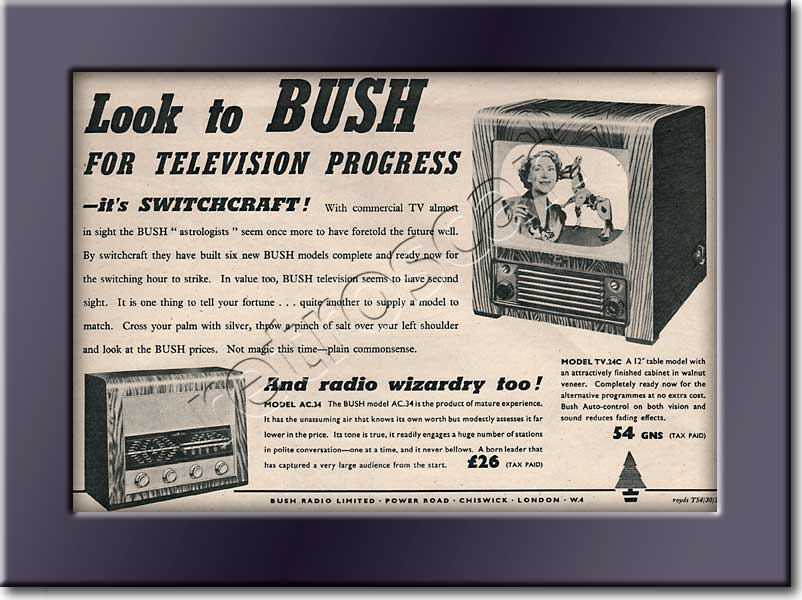 1954 Bush TV & Radio  - framed preview vintage