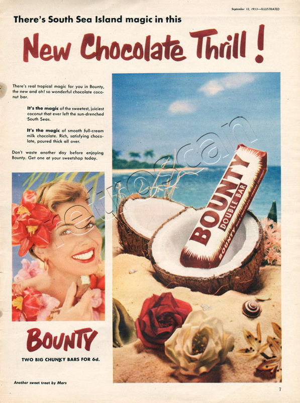 1953 Bounty Bar and coconut shell - vintage ad