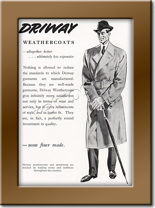 Driway Raincoats - framed preview vintage ad