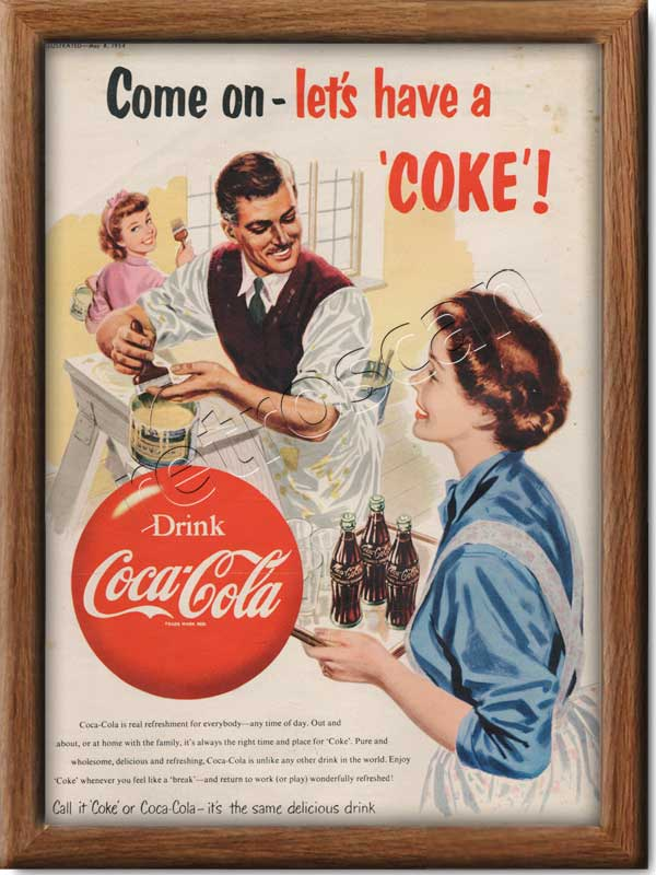 1954 Vintage Coca Cola Painting Ad - framed preview