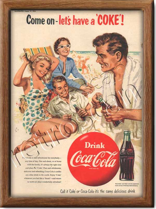 1954 Vintage Coca Cola Ad - framed preview