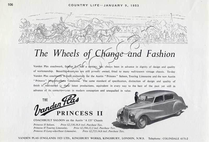1953 vintage Vanden Plas Princess II advert