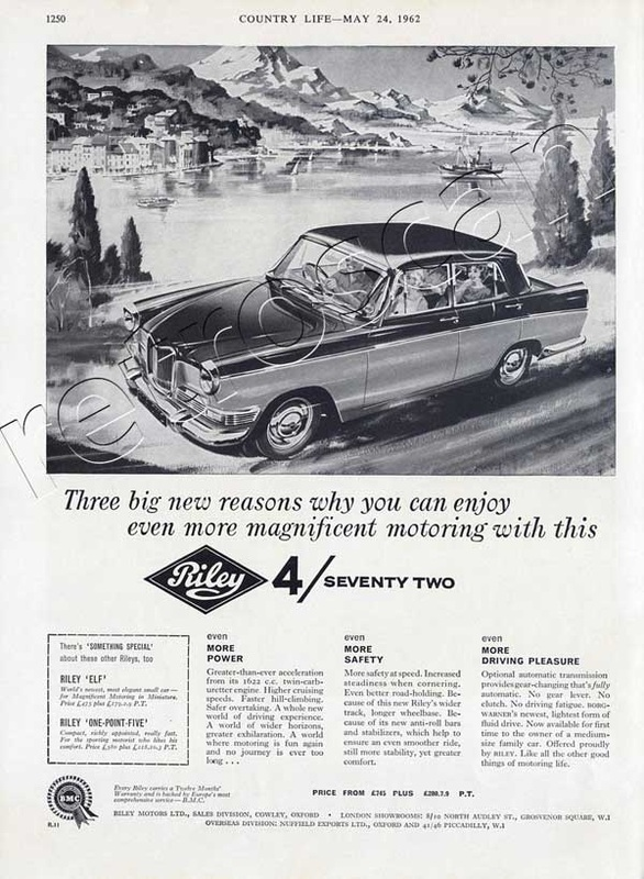 1962 Riley 4/Seventy Two Saloon vintage advert