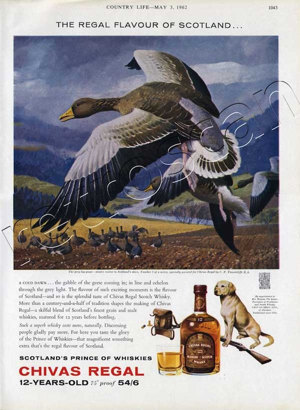 1962 Chivas Regal with illustration of grey goose - unframed