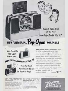 1948 Zenith Pop-Open Portable Radio