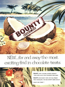 Bounty Bar 'Tropical Island' Vintage Ad