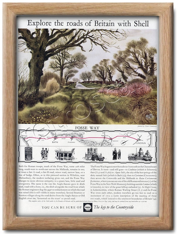 Shell Guide to The Fosse Way Midlands England painted  by David Gentleman