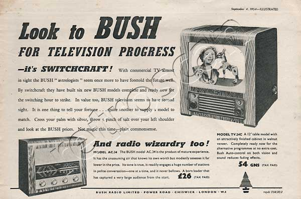 1954 Bush TV & Radio - unframed vintage