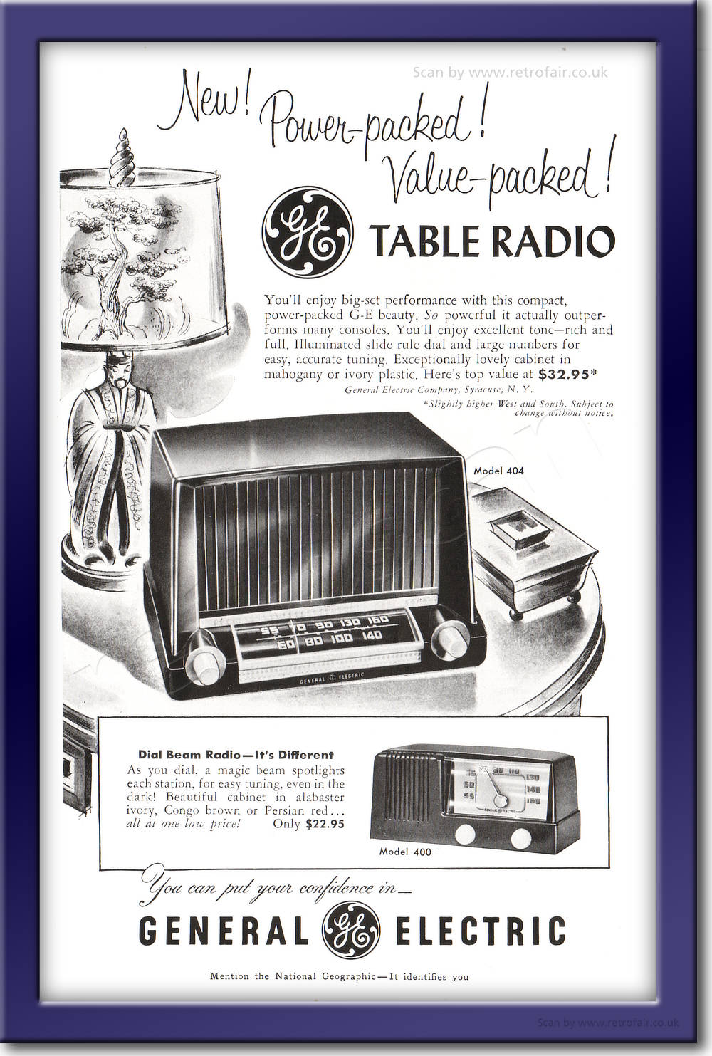 1951 General Electric Table Radio - framed preview retro