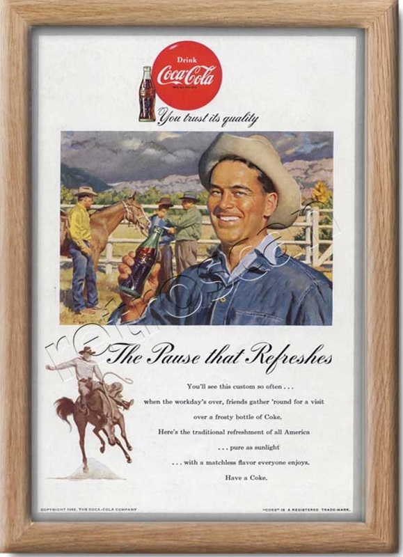 1953 Coca Cola Cowboy Rodeo  - framed preview
