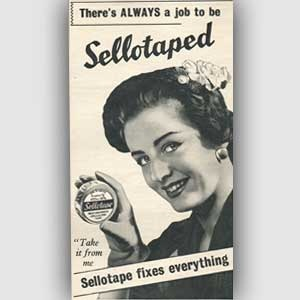 1954 Sellotape 'fixes everything'  vintage ad