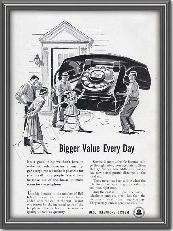 1949 Bell Telephone Giant Telephone vintage advert