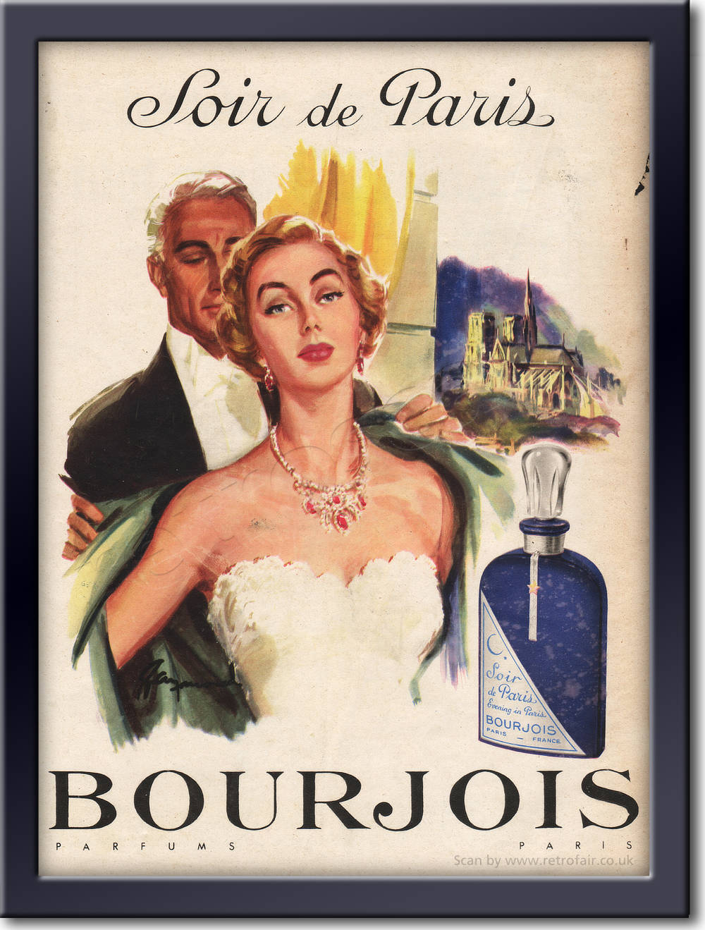 1954 Bourjois Perfume framed preview retro