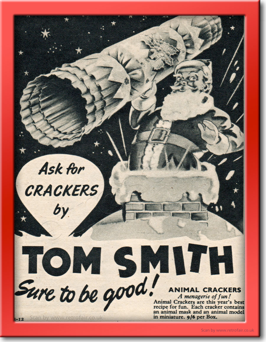 1954 Tom Smith Christmas Crackers - framed preview vintage ad