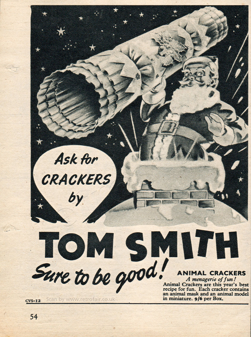 1954 Tom Smith Christmas Crackers - unframed vintage ad