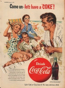 1954 Coca Cola Family Beach Scene