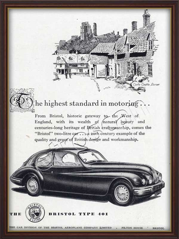 1952 vintage Bristol Type 401 advert