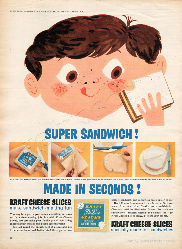 1958 Kraft Cheese Slices - unframed vintage ad
