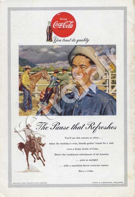 1953 Coca Cola Cowboy Rodeo - unframed