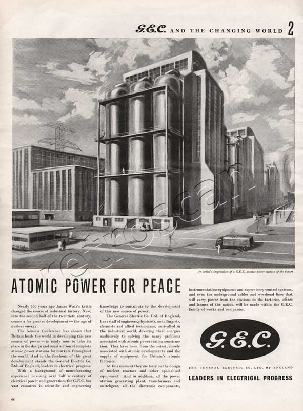 1955 General Electric Corporation atomic power station retro ad