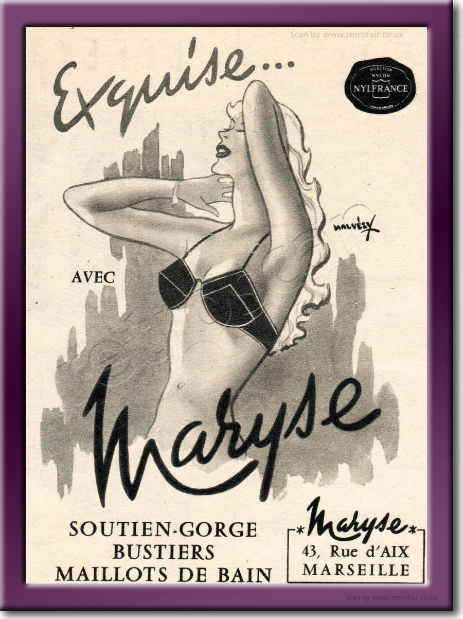 1959 Maryse Lingerie - framed preview vintage ad