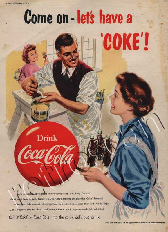 1954 Vintage Coca Cola Painting Ad - unframed