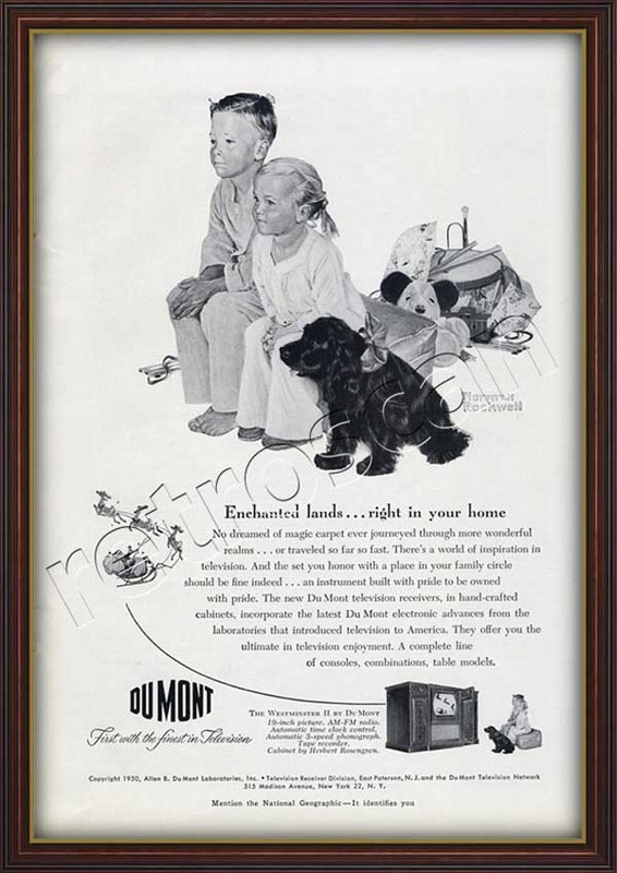 1950 Du Mont with Norman Rockwell Illustration of children and dog - Framed Preview