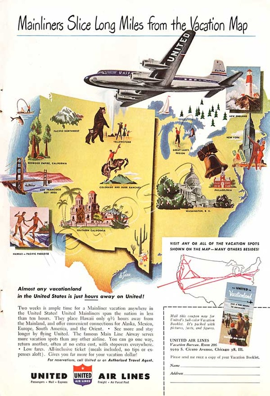 1949 United Air Lines vintage ad