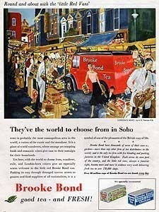 1955 Brooke Bond Tea 'Little Red Vans' Soho Market  vintage ad