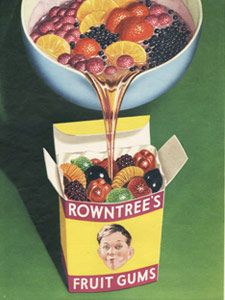 1954 Fruit Gums Pack with boy - vintage ad