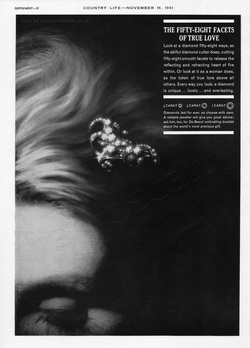1961 De Beers Diamonds - unframed vintage ad
