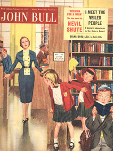 1955 February John Bull Vintage Magazine kids in public library