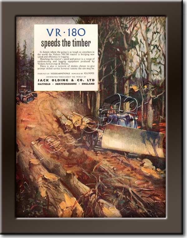 1953 Vickers VR-180 Mechanical Digger - framed preview vintage ad