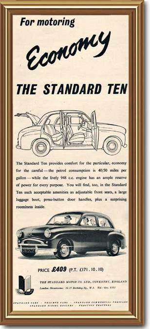 1955 vintage Standard Ten advert