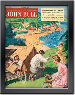 1955 April John Bull Vintage Magazine family camping vacation  - framed example