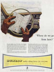 1954 Dunlop Tyres Map and Driving Gloves